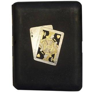 Rare Pre War Japanese Damascene Playing Cards Cigarette Case