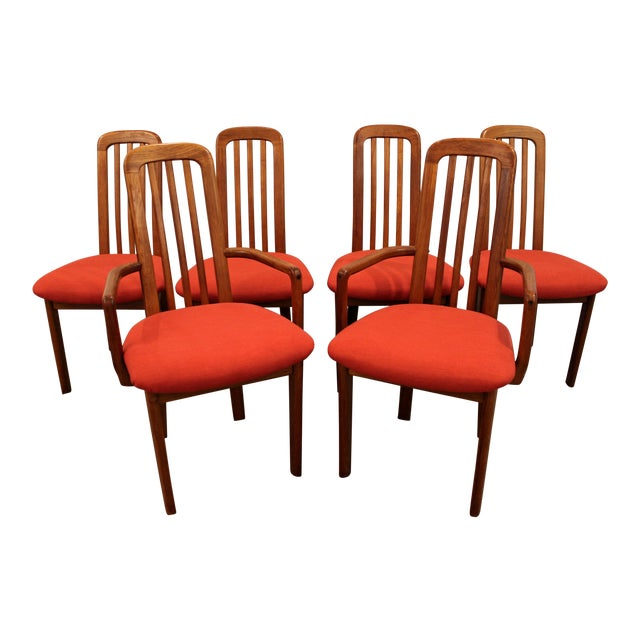 Set of 6 Mid-Century Danish Modern Ansager Mobler Spindle Teak Dining Chairs - Image 1 of 11