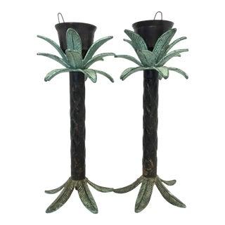 Hollywood Regency Palm Tree Candleholders - Pair