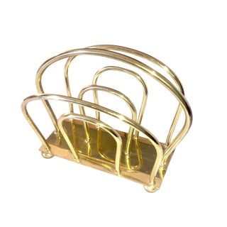 Mid-Century Brass Curved Magazine Rack