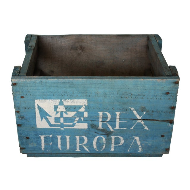 Blue Distressed Europa Rex Bottle Crate - Image 1 of 5
