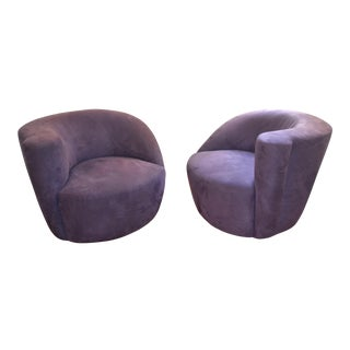 Vladimir Kagan Nautilus Swivel Lounge Chairs - A Pair