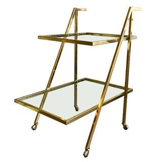 Mid-Century Modern Two Tier Brass Bar Serving Cart