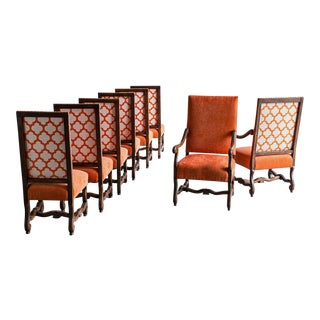 "Set Eight ""Os de Mouton"" Dining Chairs, Custom Colour, France"