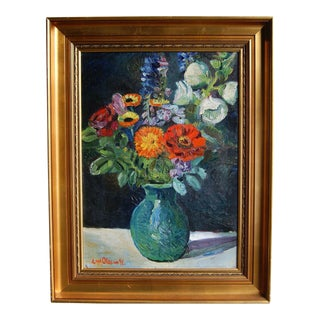 1941 Still Life Painting of Flowers by Eyvind Olesen