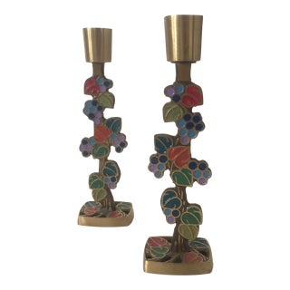 Mid-Century Modern Brass & Enamel Grape Vines Candle Holders