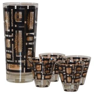 Mid-Century Modern Black and Gold Starburst Shaker and Four Rocks Glasses