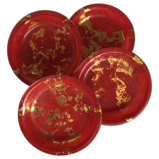 Red and Gold Coasters - Set of 4