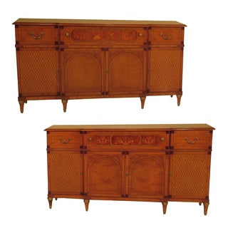 Italian Inlaid Walnut Sideboards - A Pair