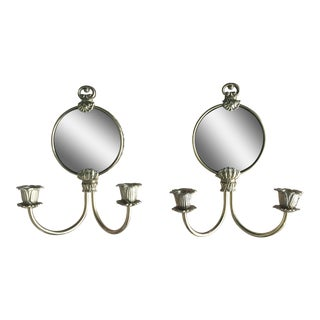Hollywood Regency Brass Mirror Wall Sconces - A Pair