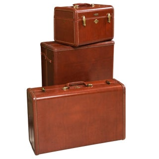 Samsonite Art Deco Leather Suitcases - Set of 3