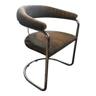 Grey Chevron Reupholstered Chrome Chair
