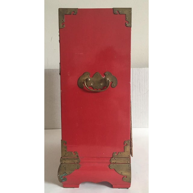 Vintage Red Lacquer Tansu Chest Jewelry Box - Image 4 of 11