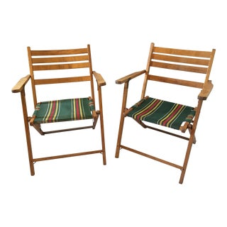 Mid-Century Hardwood Frame Canvas Folding Chairs - A Pair