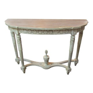 Ornate Carved Wood Demilune Console Table