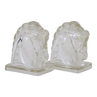 Glass Horse Bookends - A Pair