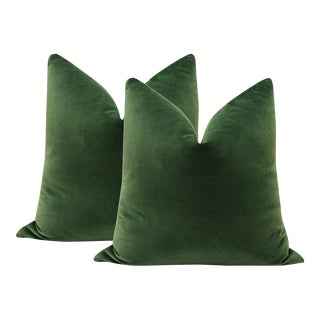 "22"" Fern Green Velvet Pillows - A Pair"