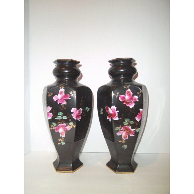 Black Hand Painted Vases - A Pair - Image 2 of 9