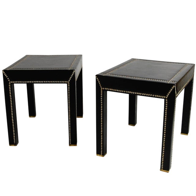 Italian Black Leather Studded End Tables - A Pair - Image 1 of 10