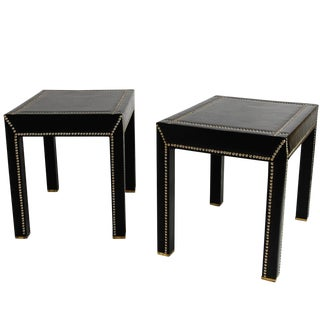 Italian Black Leather Studded End Tables - A Pair