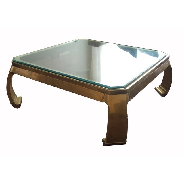 Vintage Brass Smoked Glass Top Coffee Table
