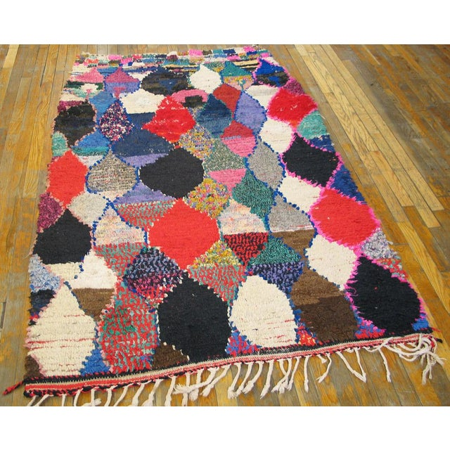 "Traditional Moroccan Boucherouitte Rug - 4'2"" x 6'6"" - Image 2 of 5"