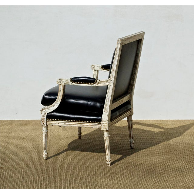 Vintage Black & White Louis XVI Bergere Chairs - A Pair - Image 5 of 9