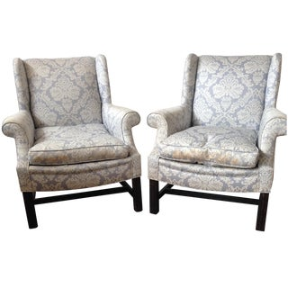 Light Blue Damask Wingback Chairs - A Pair