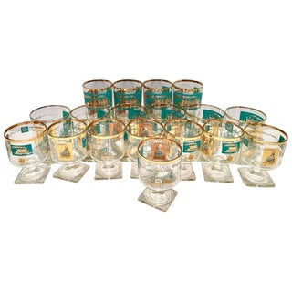 "Vintage 22-Karat Gold and Turquoise ""Steamboat"" Glass Drinks - Set of 18"