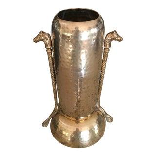 Mid-Century Hammered Brass Vase