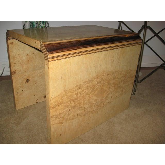 Henredon Olive Burl and Ebony Side Table/Stool - Image 3 of 10