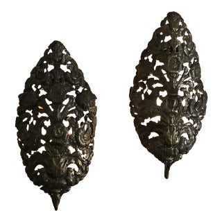 Italian 19th Century Metal Palms Sconces - A Pair