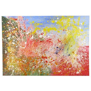 "1976 Massive & Colorful 91"" x 63"" Abstract Oil On Canvas"