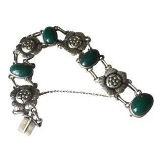 """Georg Jensen 830 Silver Green Chrysophrase """"Blossom"""" Bracelet No. 12"""