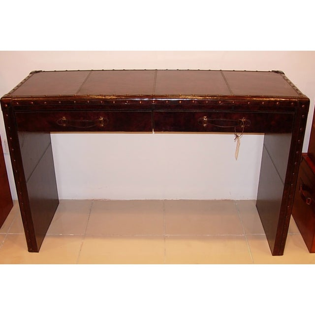 Leather Console Table With Two Drawers - Image 3 of 5