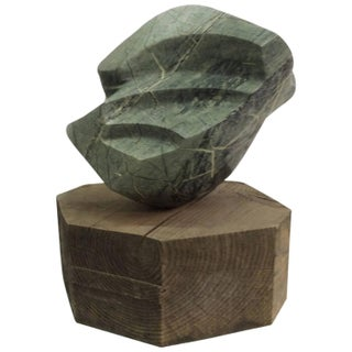 Large Abstract Marble Sculpture on Rough Wood Base