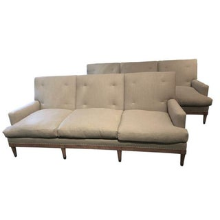 Pair of 1960s French Maison Jansen Blind Tuft Back Upholstered Sofas, France