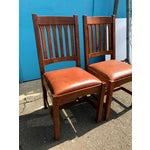 Image of Stickley Mission Cottage Oak & Leather Side Chairs - A Pair