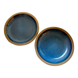 Mid-Century Heath Blue Ceramic Dinner Plates in Moonstone - A Pair
