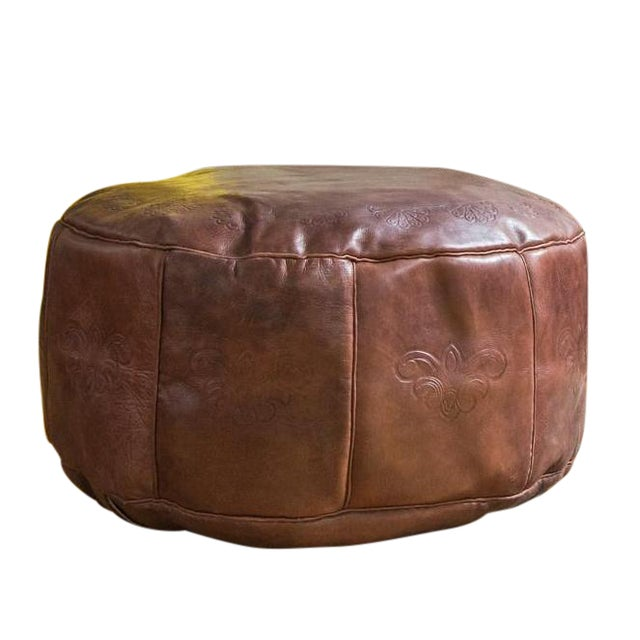 Antique Revival Whiskey Brown Leather Pouf Ottoman - Image 1 of 7