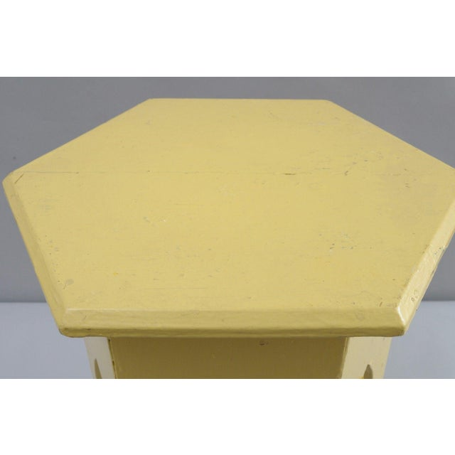 Primitive Rustic Moorish Style Yellow Painted Arched Accent Side Table - Image 5 of 11