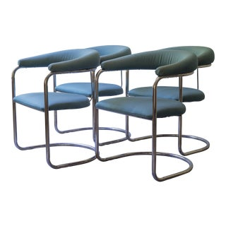 Thonet Tubular Chrome Teal Dining Chairs- Set of 4