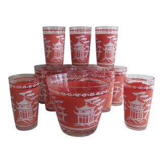 Chinoiserie Vintage Ice Bucket & Glassware by Hazel Atlas - Set of 13