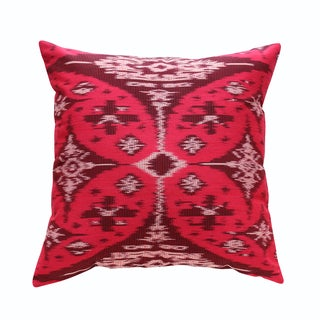 Boho Handwoven Red Ikat Pillow Cover
