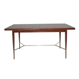 Paul McCobb Mahogany Dining Table With Brass Stretcher
