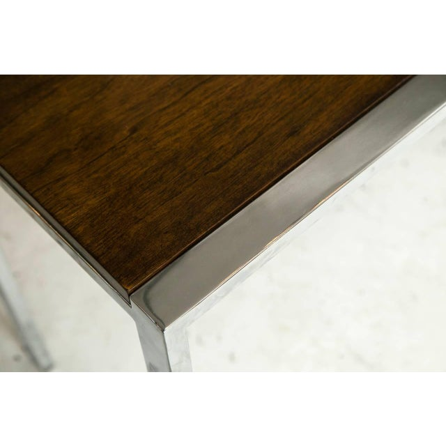 Image of 1960s Chrome and Mahogany Console Table