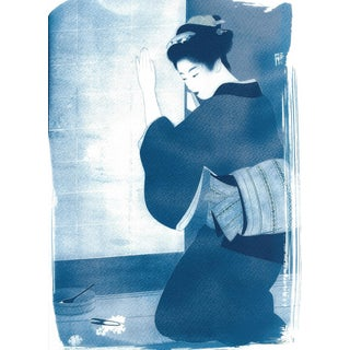 Japanese Geisha Cutting Flowers, Cyanotype Print on Watercolor Paper