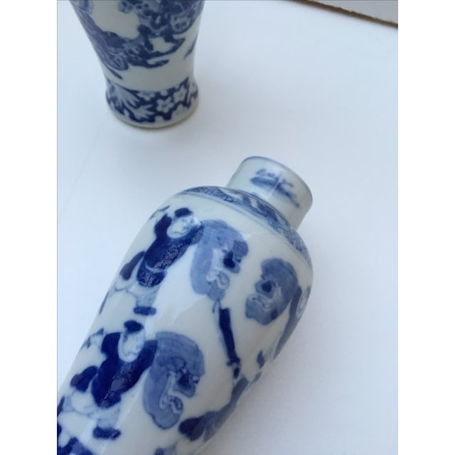 Antique Blue & White Samurai Vases - A Pair - Image 4 of 6