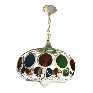 Mid-Century Stain Glass Hanging Swag Lamp