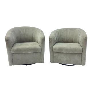 Natuzzi Hollywood Regency Suede Tub Club Chairs - a Pair